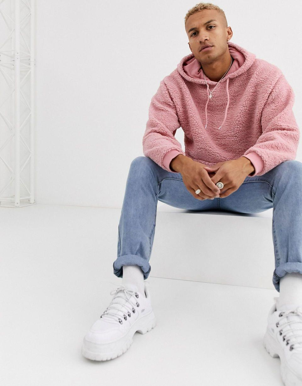 Men's oversized hoodie in pink borg