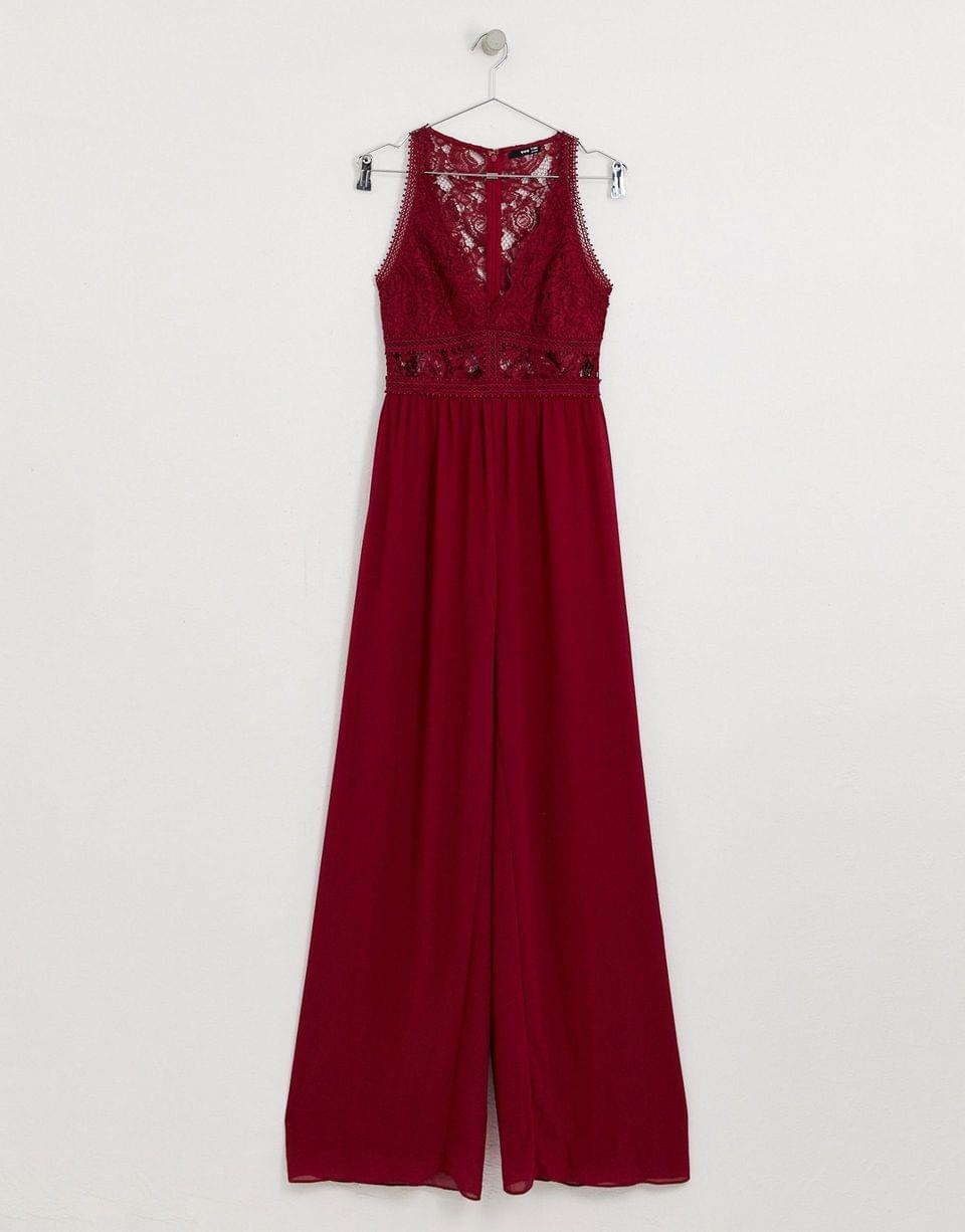 Women's TFNC Tall Bridesmaid jumpsuit with lace inserts in mulberry