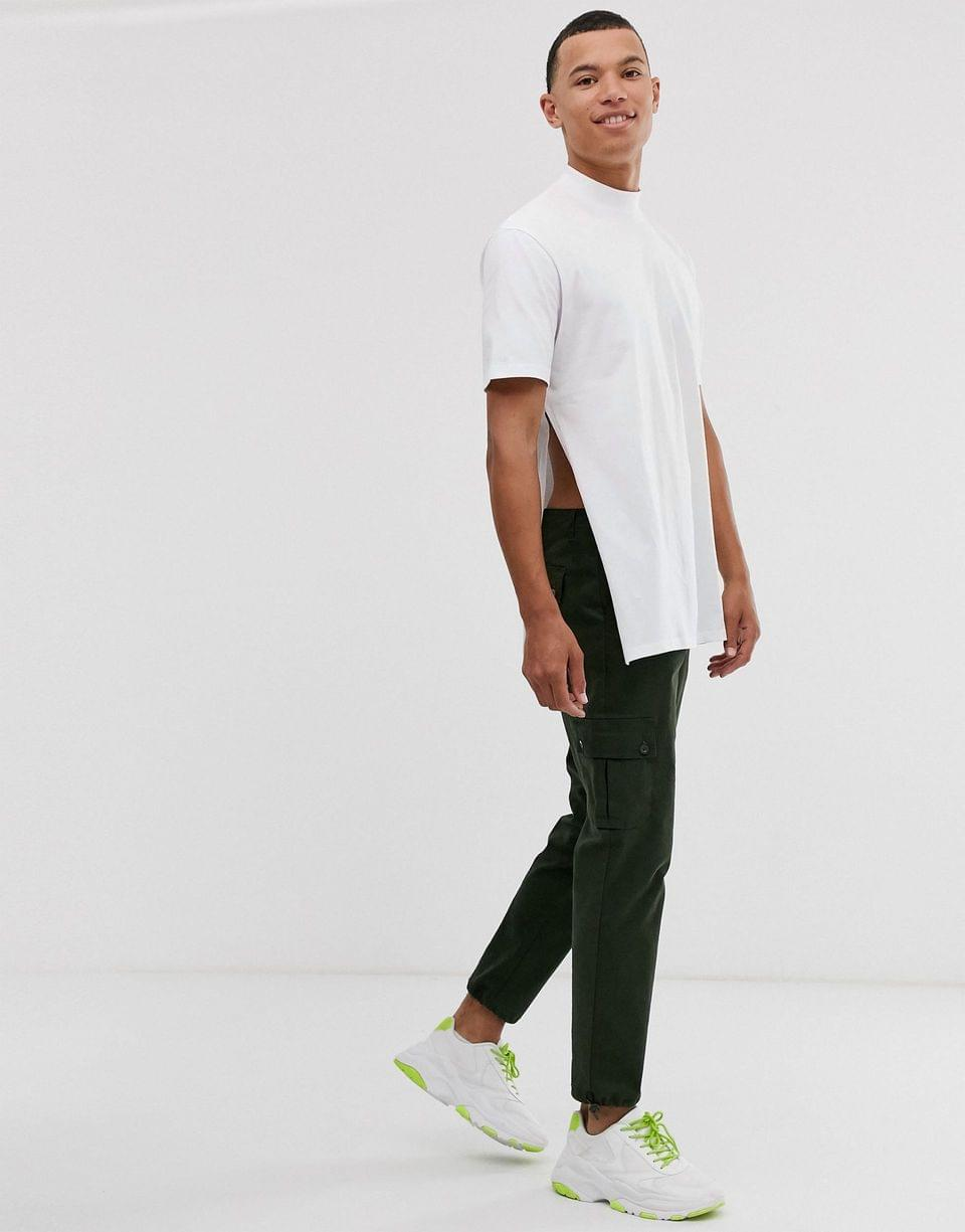 Men's Tall relaxed longline t-shirt with side splits in white