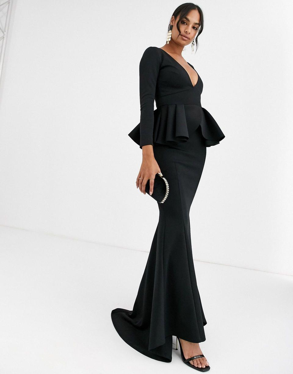 Women's True Violet Black Label long sleeve plunge maxi dress with peplum in black