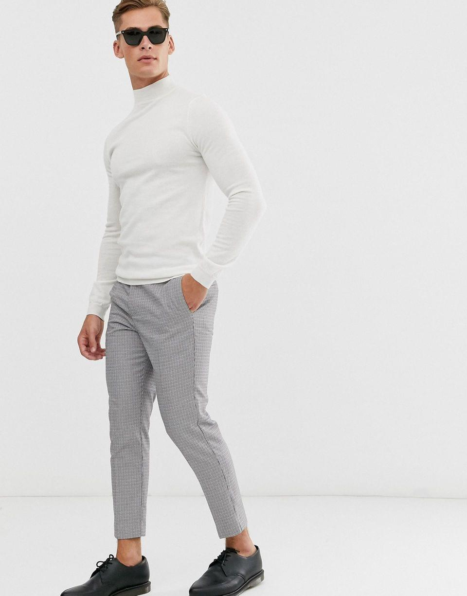 Men's muscle fit merino wool turtleneck sweater in white