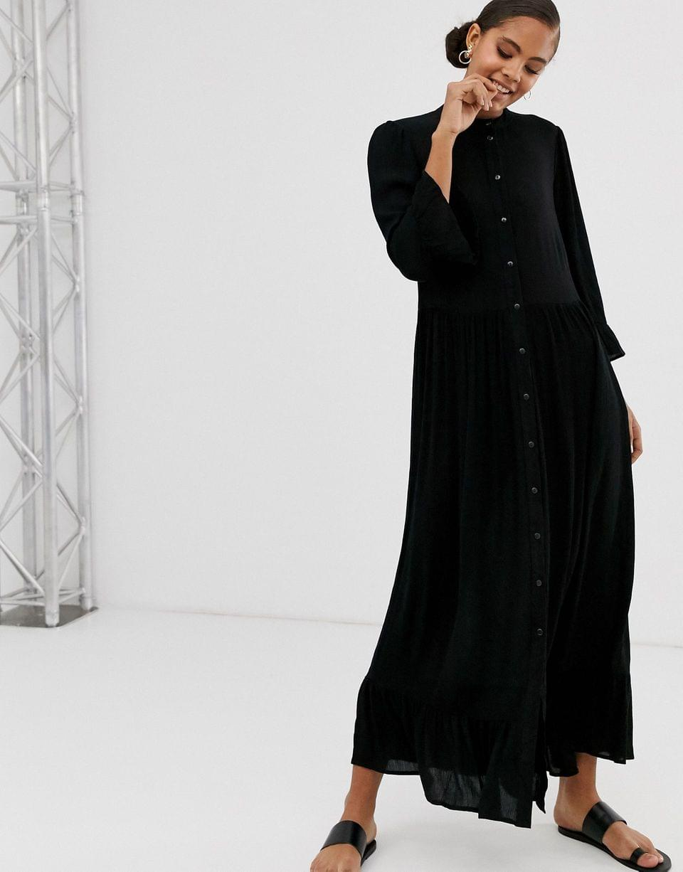 Women's Tall button through tiered smock maxi dress in crinkle
