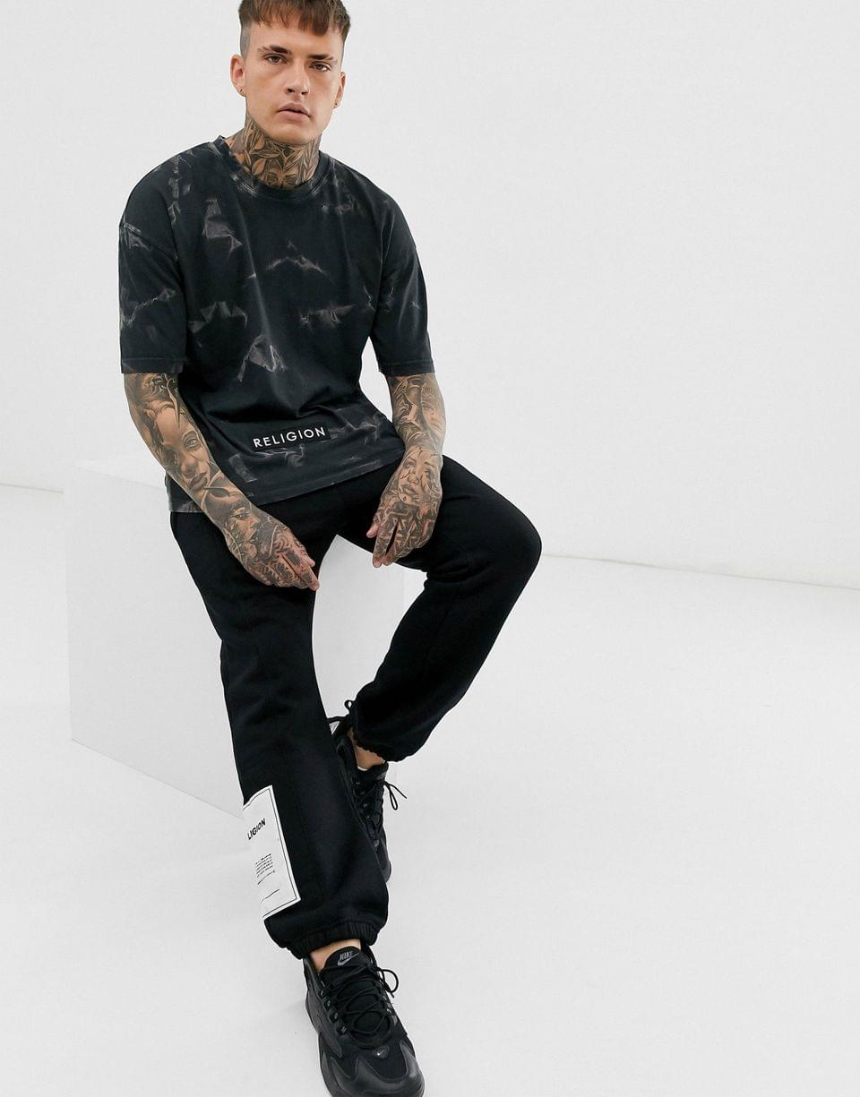 Men's Religion oversized t-shirt with smoke print in black