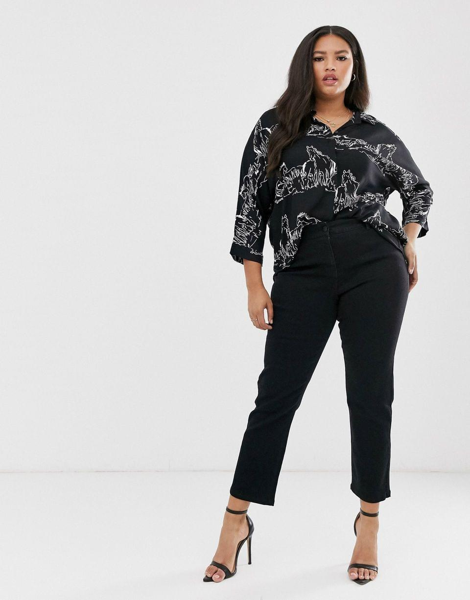 Women's Curve long sleeve oversized shirt in abstract horse print