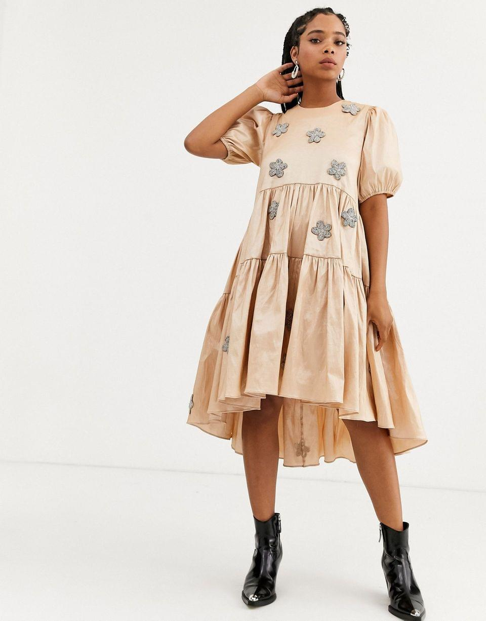 Women's Dream Sister Jane tiered midaxi dress with puff sleeves and embellished flowers in taffeta