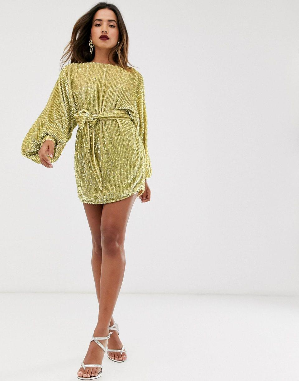 Women's EDITION oversized blouson sleeve mini dress in sequin