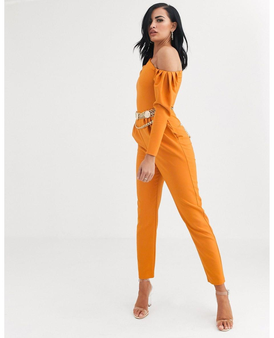 Women's fallen one shoulder long sleeve jumpsuit
