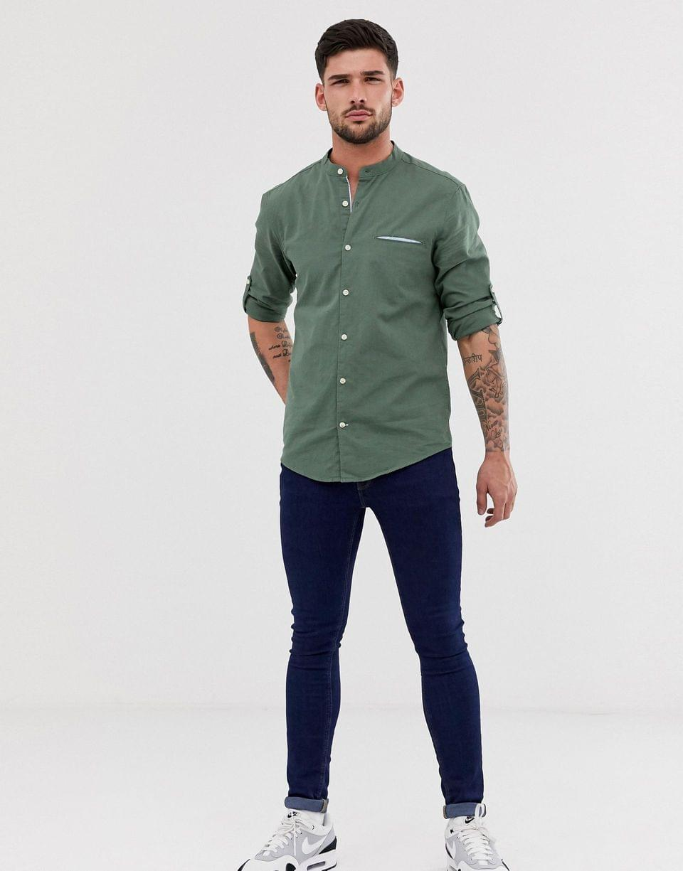 Men's Pull&Bear shirt with granddad collar shirt in khaki