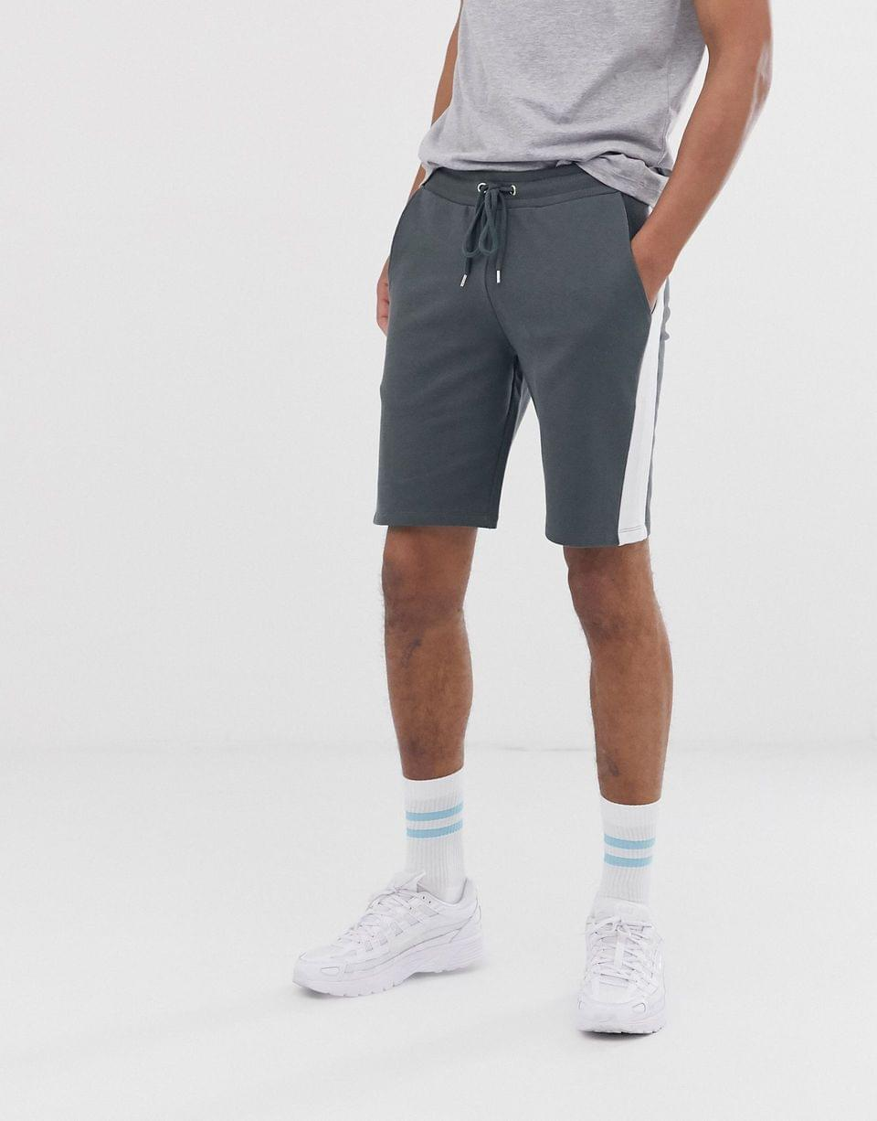 Men's Tall jersey skinny shorts in dark gray with side stripe