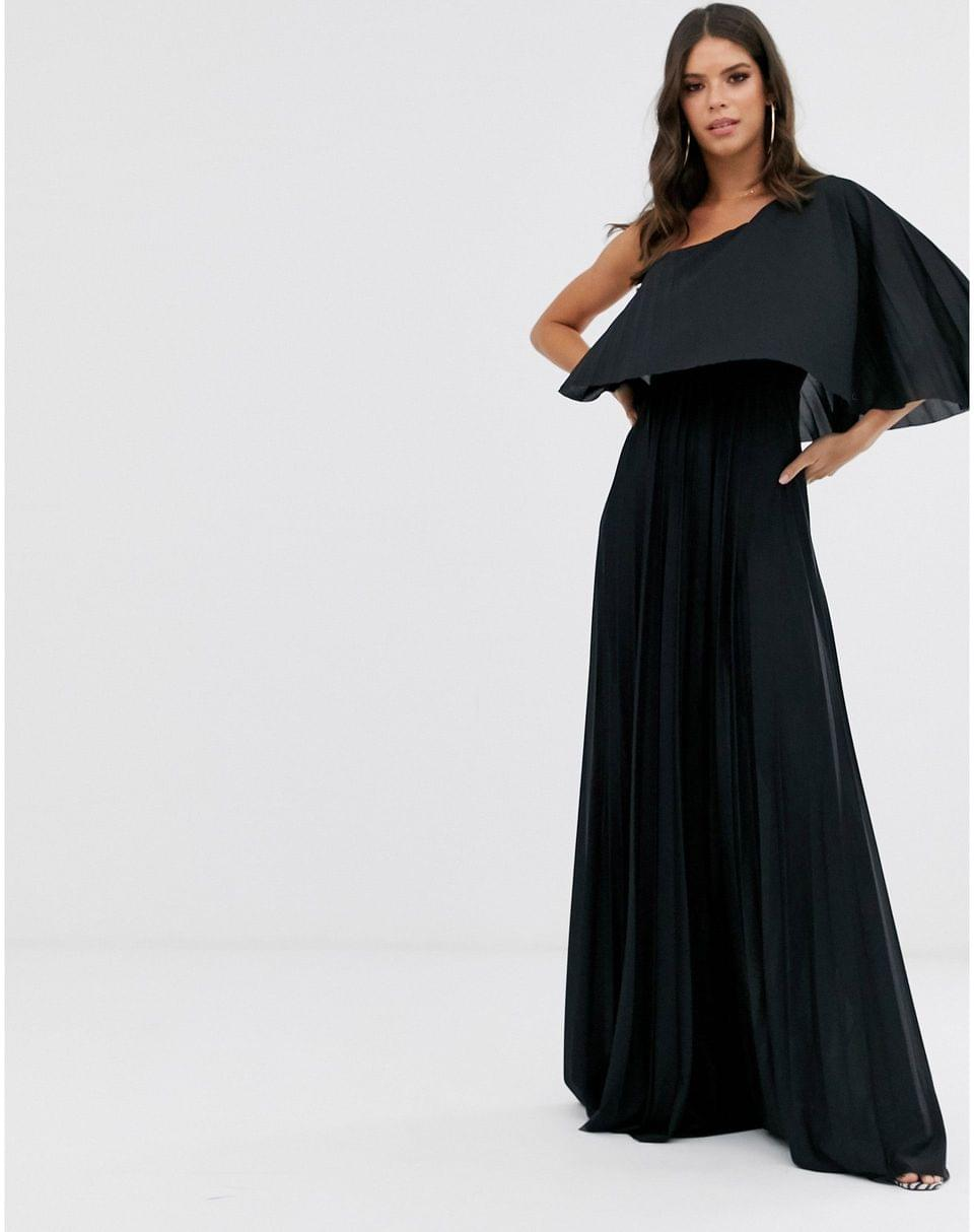 Women's Tall One shoulder pleated crop top maxi dress