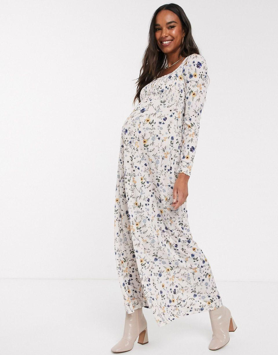 Women's Maternity long sleeve square neck shirred maxi dress in floral print