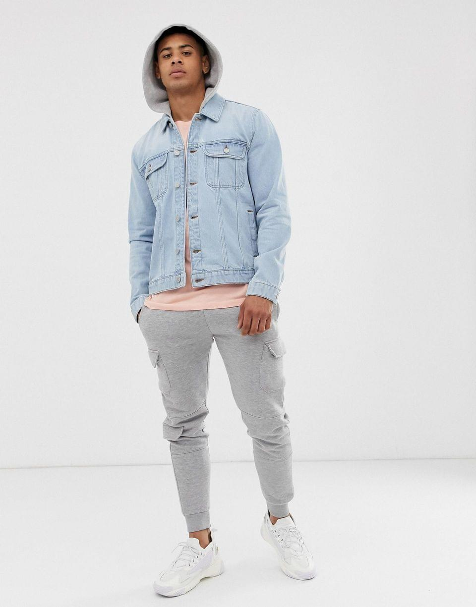 Men's denim jacket with jersey hood in light wash