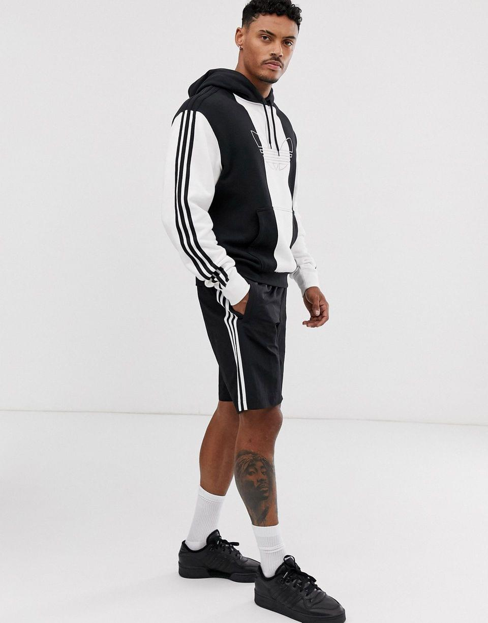 Men's adidas Originals hoodie with stripes and central logo in white