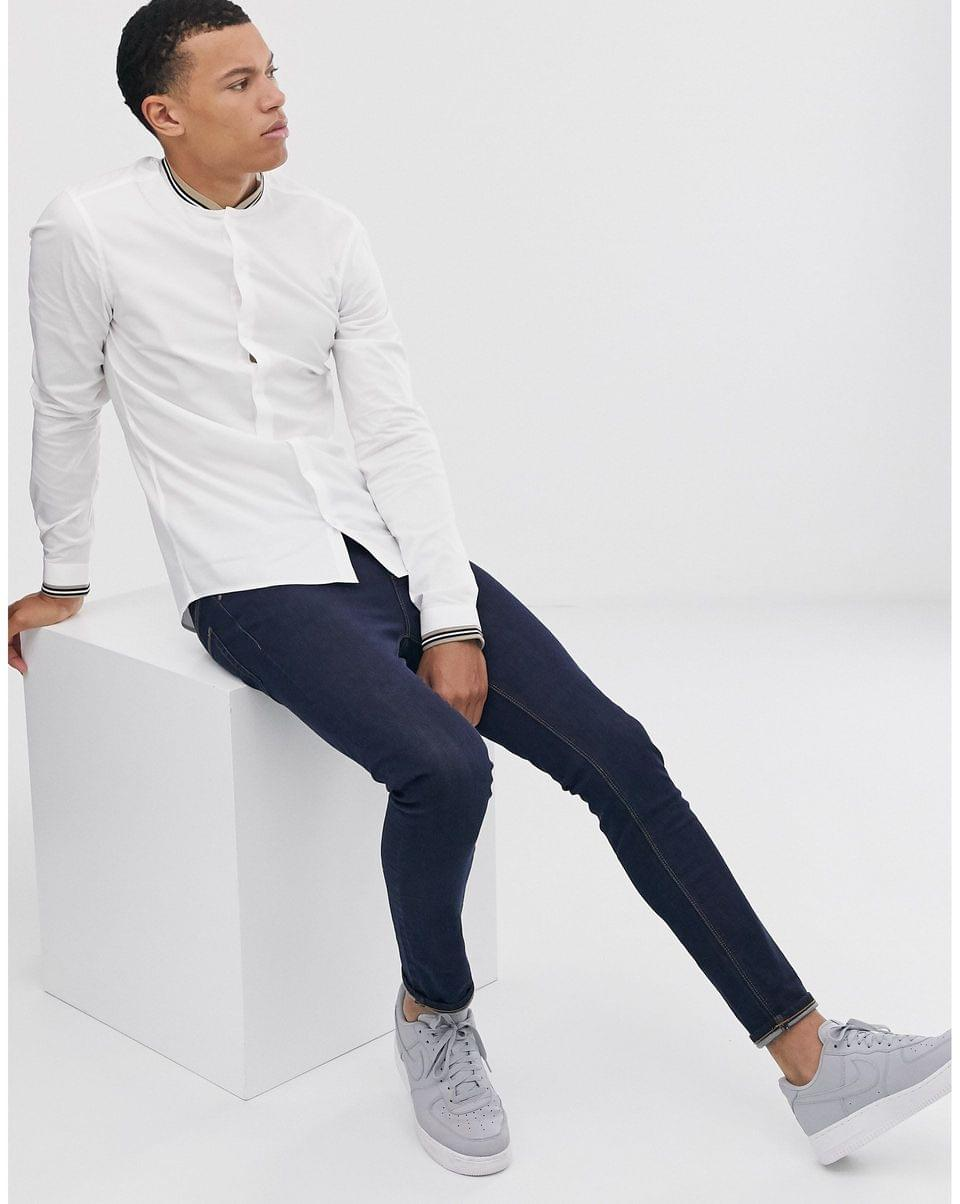 Men's Tall skinny fit shirt with rib collar in white