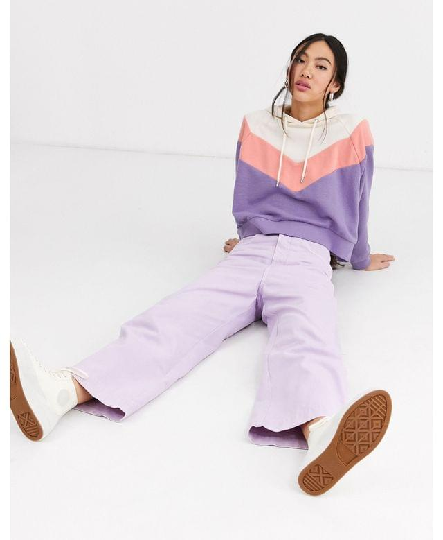 WOMEN Monki cropped color block hoodie in cream and purple