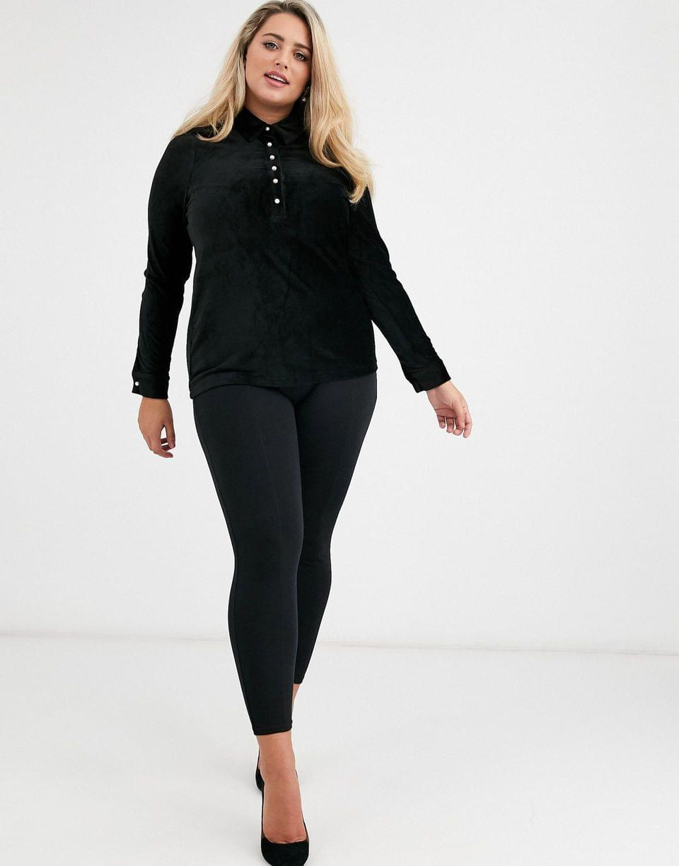 Women's Fashion Union Plus velvet long sleeve shirt with pearl button