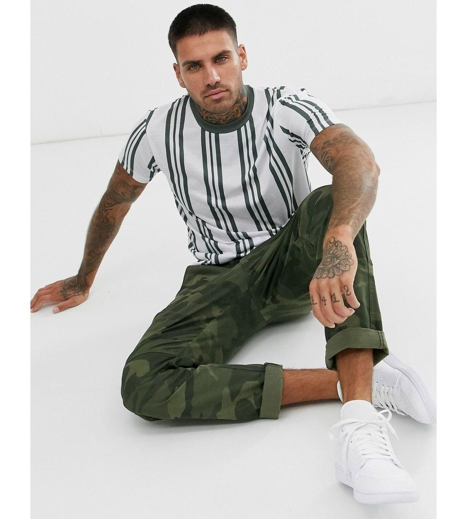 Men's AS0S DESIGN vertical stripe t-shirt in green and white