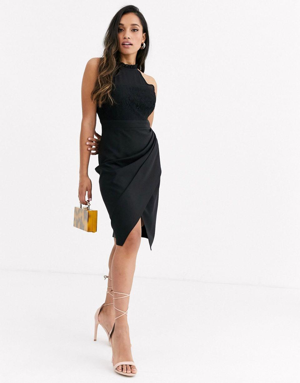 Women's Paper Dolls Petite wrap front midi dress with lace top in black