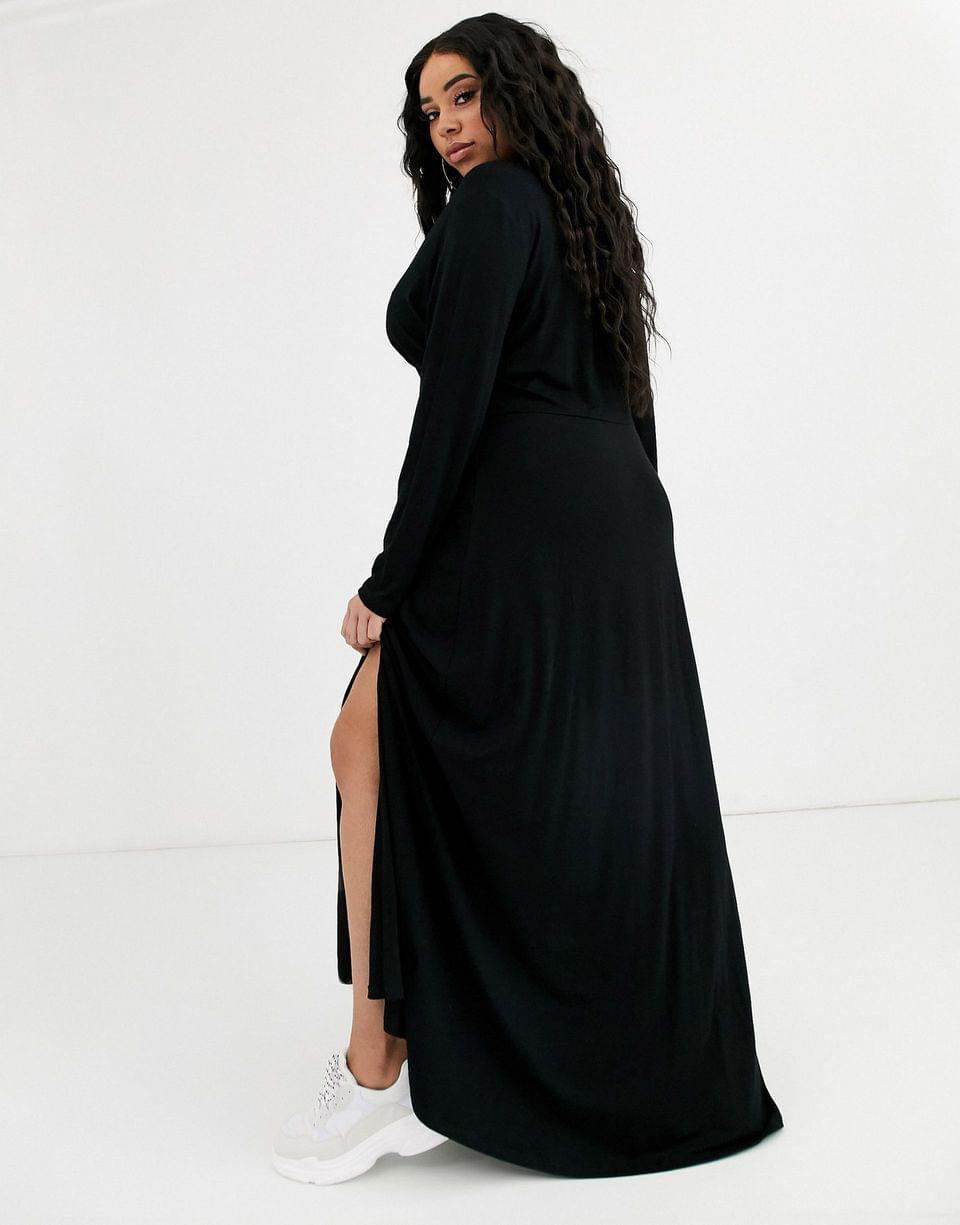 Women's Curve long sleeve button through maxi tea dress with splits