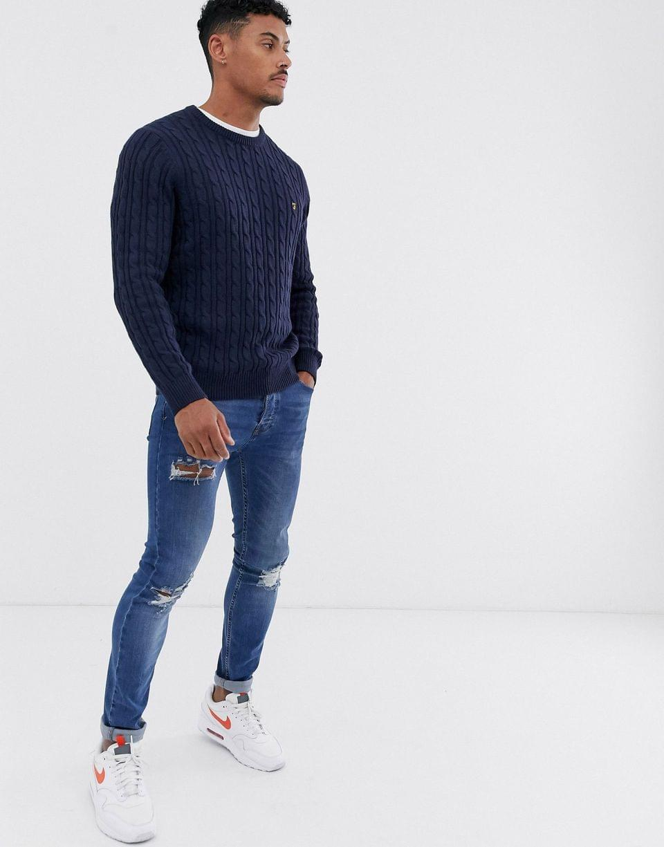 Men's Farah Ludwig cotton cable crew neck sweater in navy