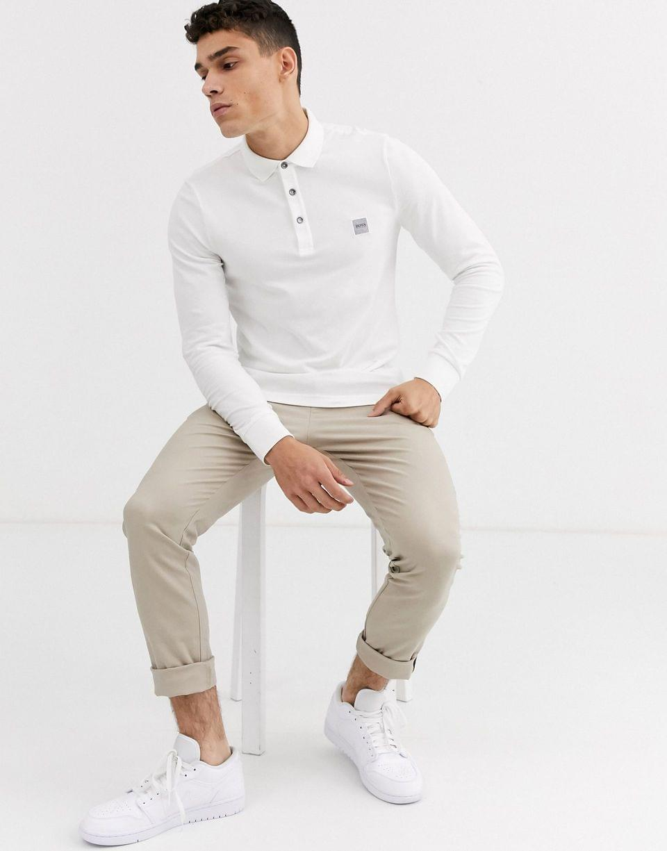Men's BOSS Passerby slim fit long sleeve logo polo in white