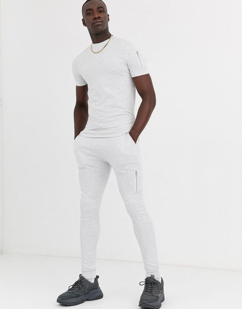 Men's Tall two-piece skinny sweatpants with MA1 pocket in white marl
