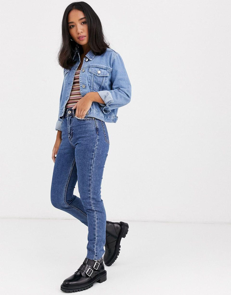 Women's Petite denim shrunken jacket in blue