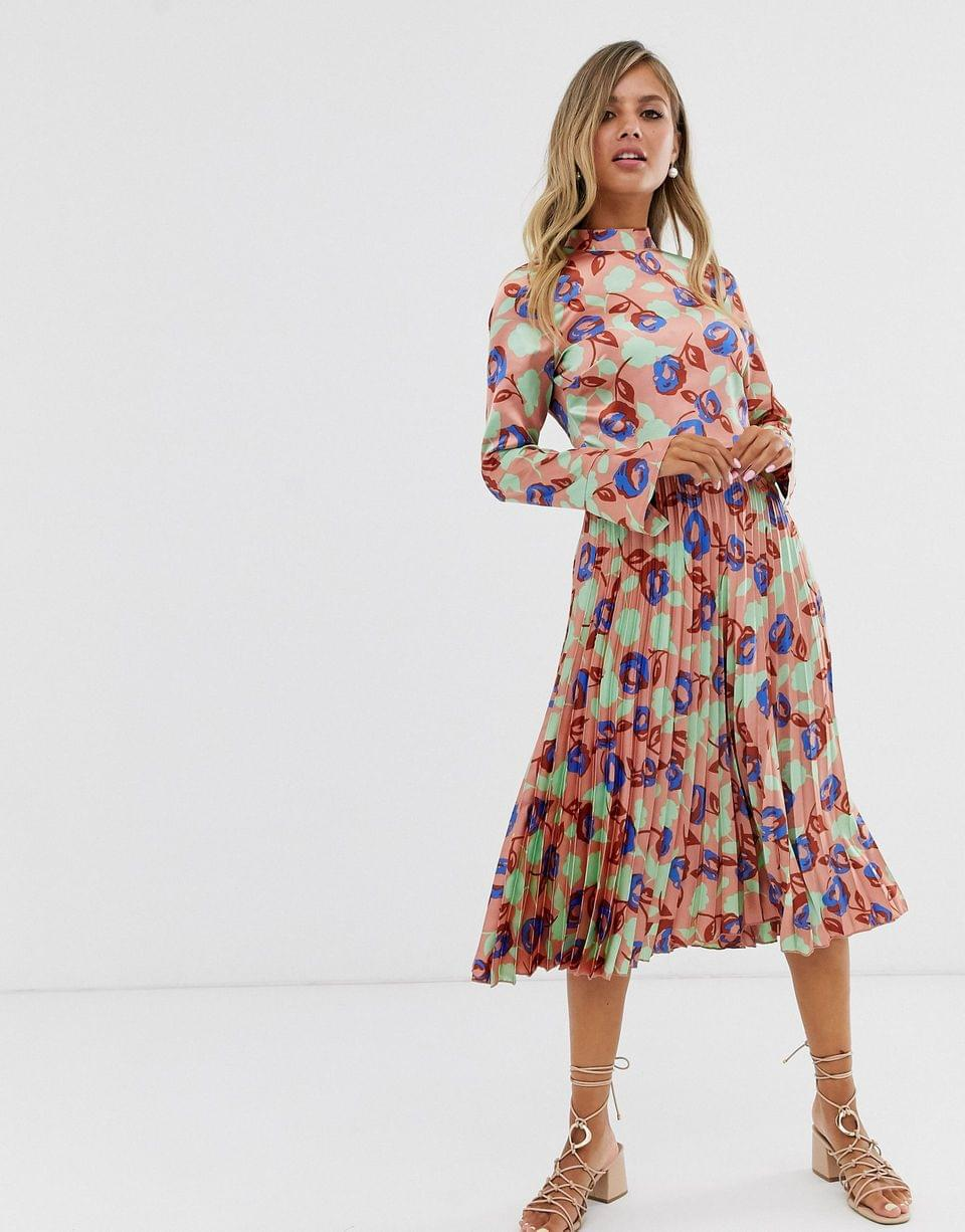 Women's pleated midi dress with fluted sleeve in floral print