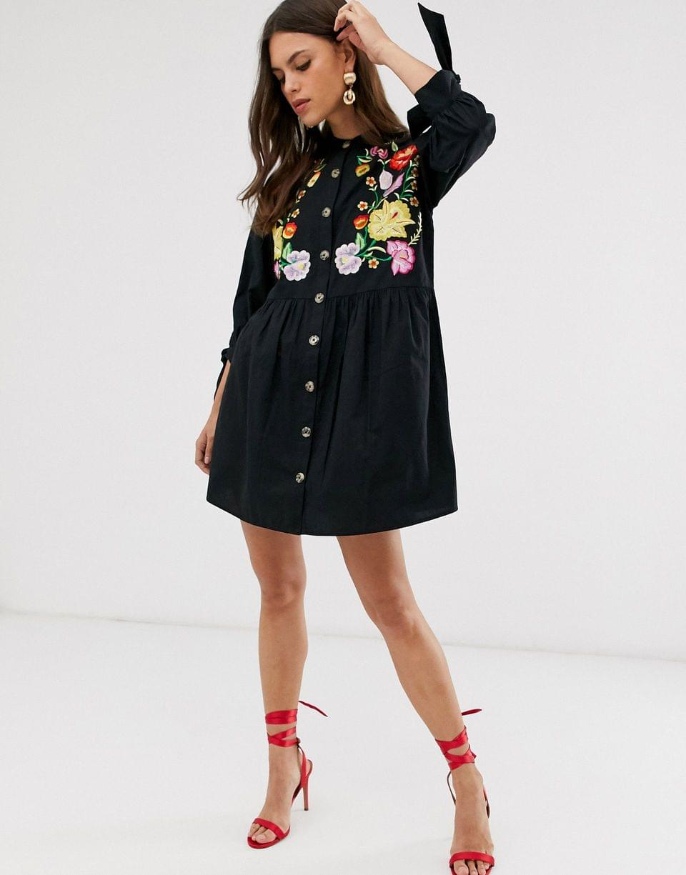 Women's embroidered grandad collar button through mini smock dress with tie sleeves
