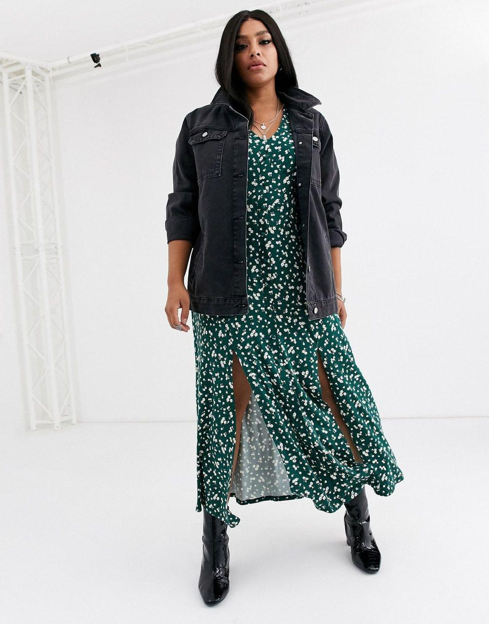 Women's Curve long sleeve button through maxi tea dress with splits in ditsy print