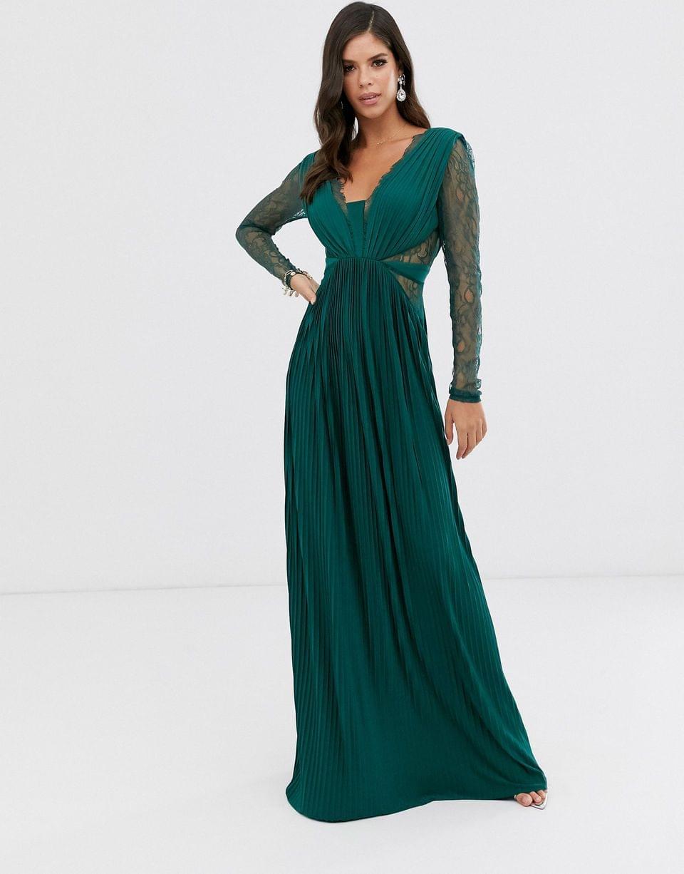 Women's Tall lace and pleat long sleeve maxi dress