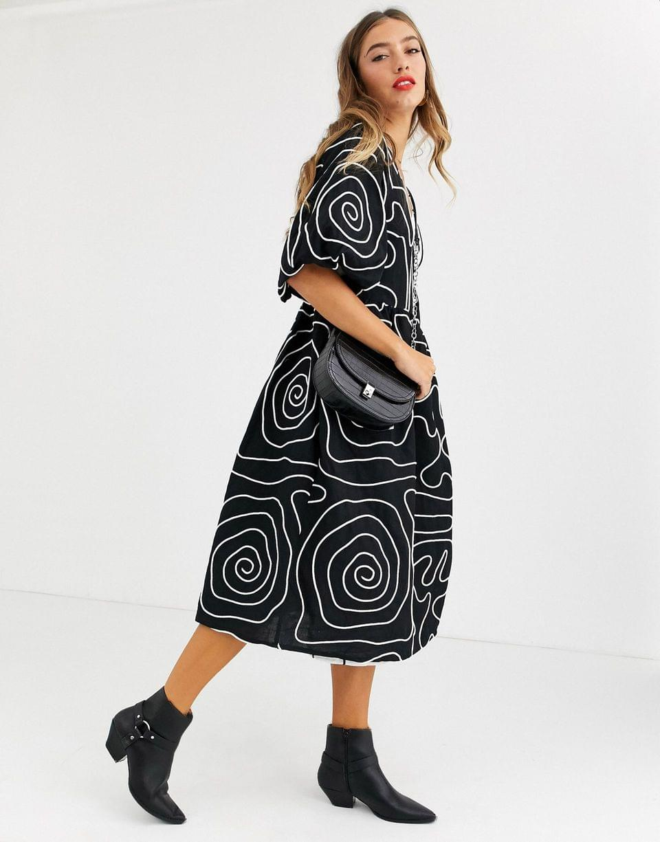 Women's Copenhagen embroidered wrap midi dress with puff sleeves and grosgrain ties