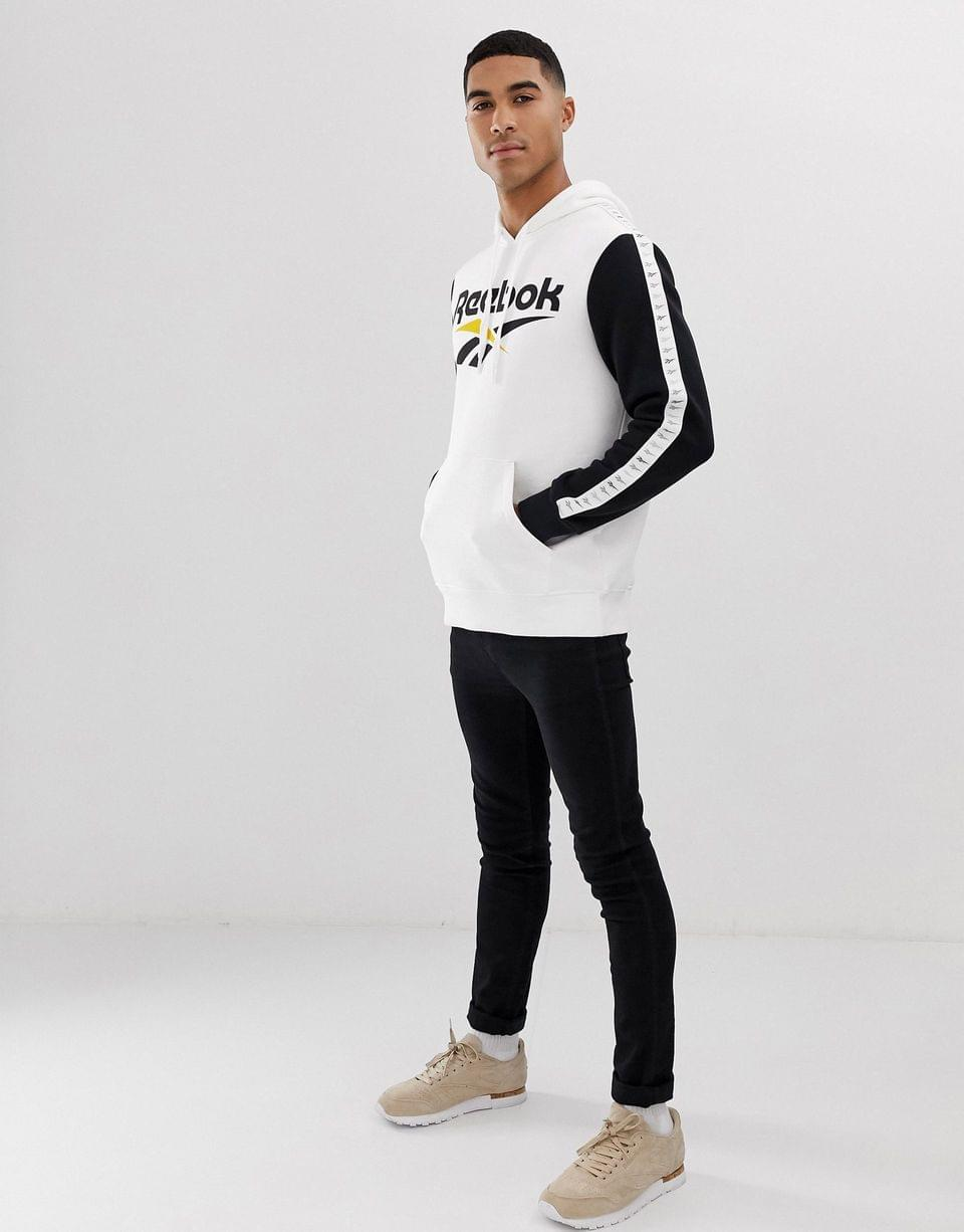 Men's Reebok hoodie with taping in white