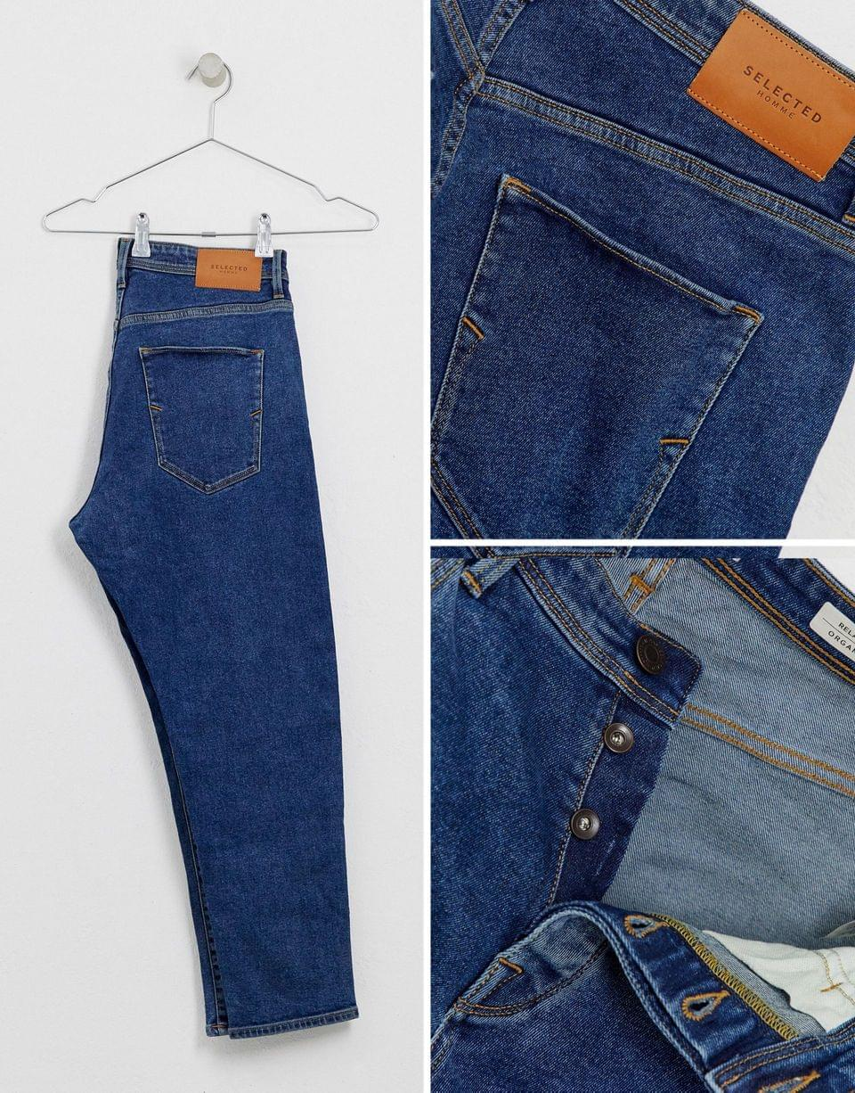 Men's Selected Homme relaxed fit cropped organic cotton jeans in mid blue