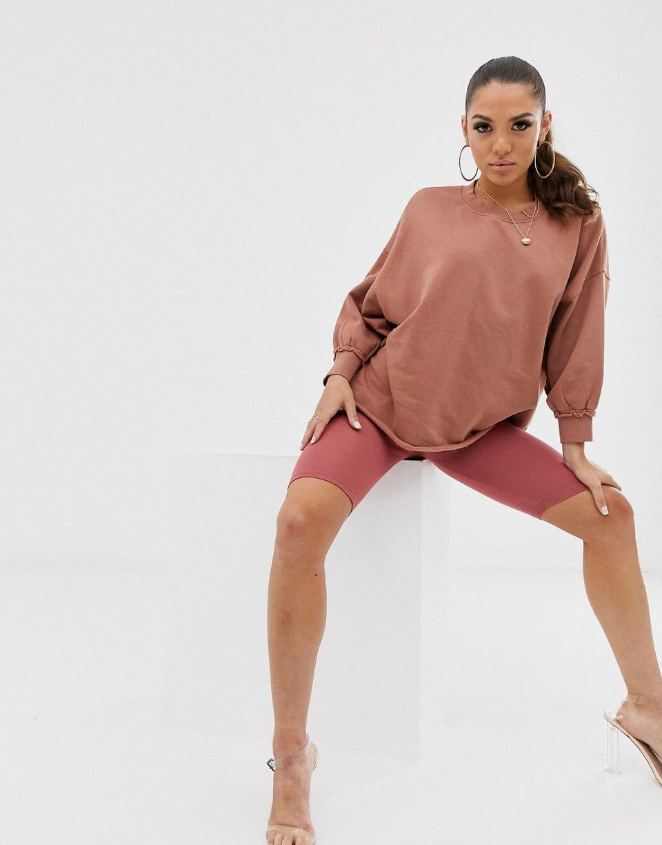 Women's washed sweatshirt with wide sleeve in tan
