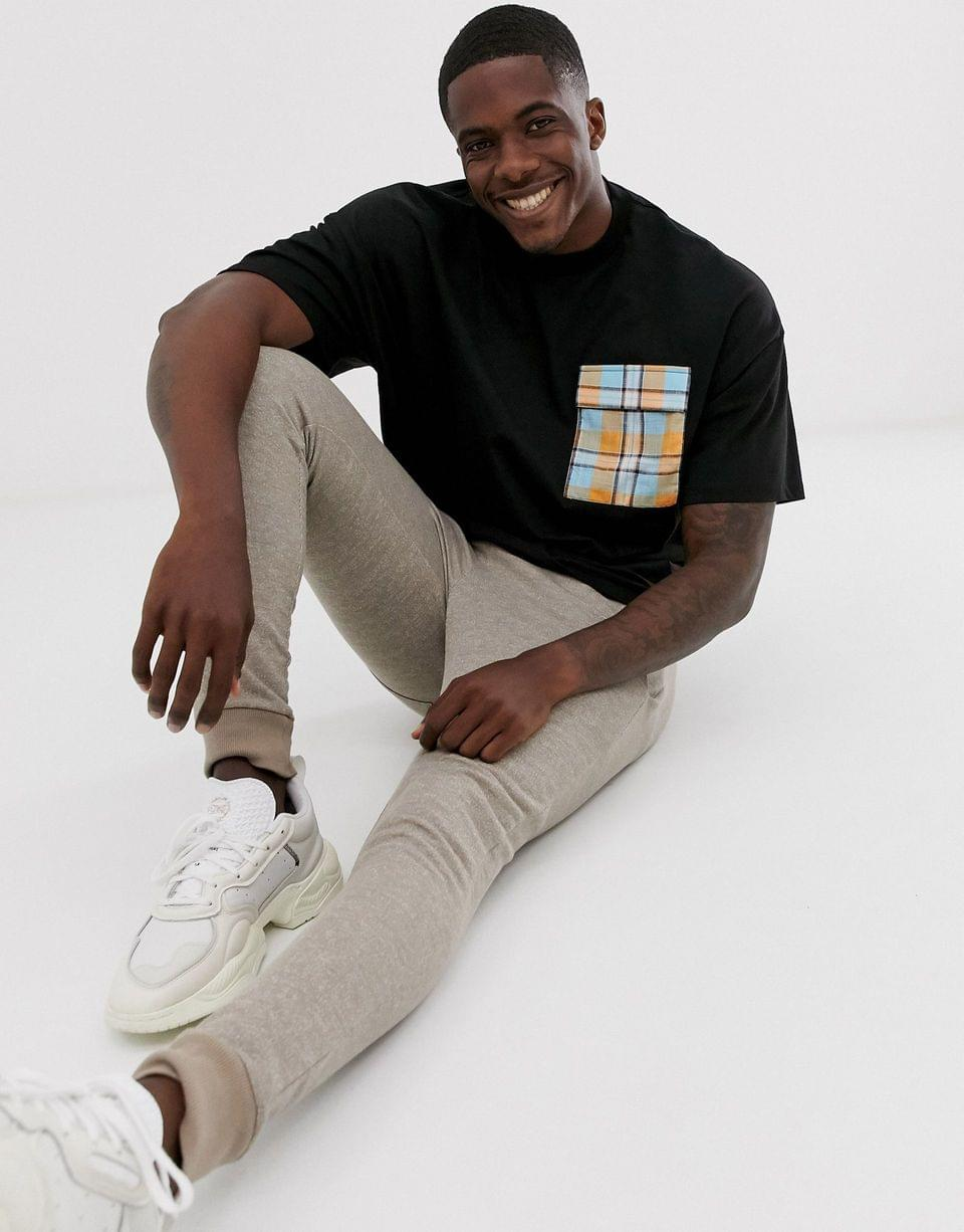 Men's oversized longline t-shirt with contrast check pocket in heavy weight jersey