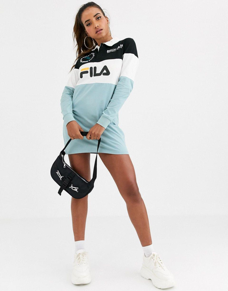 Women's Fila long sleeve rugby shirt dress in color block