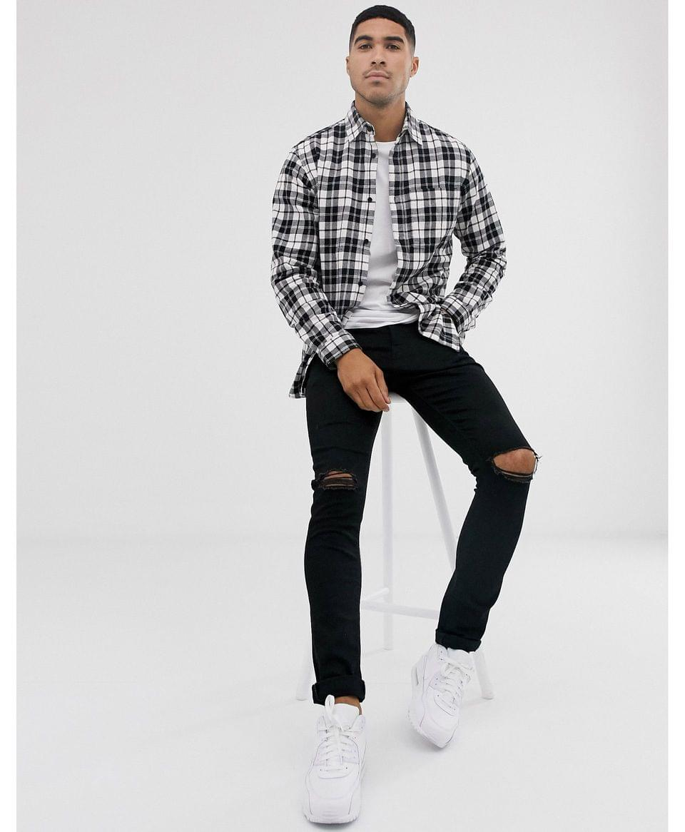 Men's Jack & Jones Originals check shirt in white