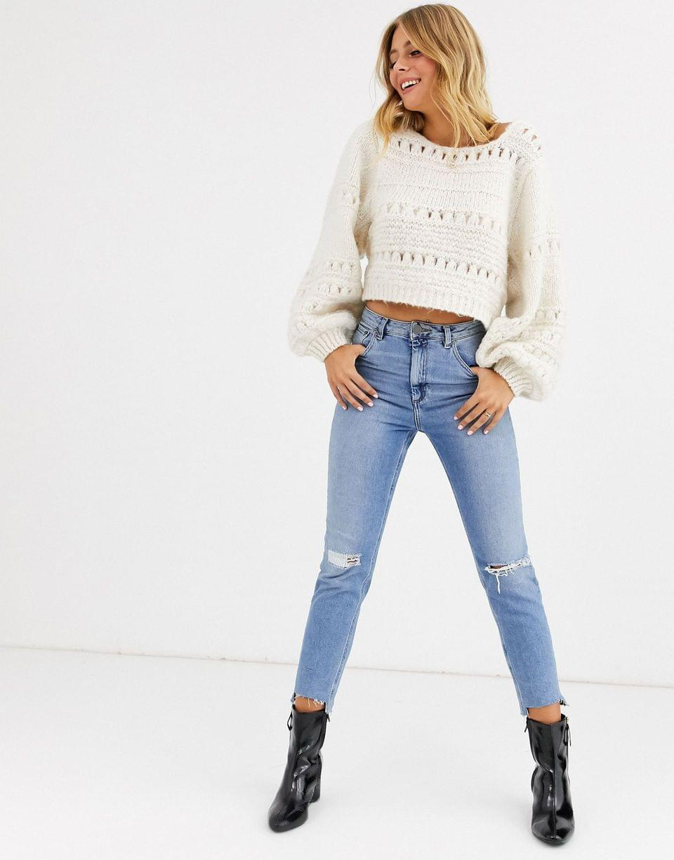Women's stitch detail square neck sweater with volume sleeve
