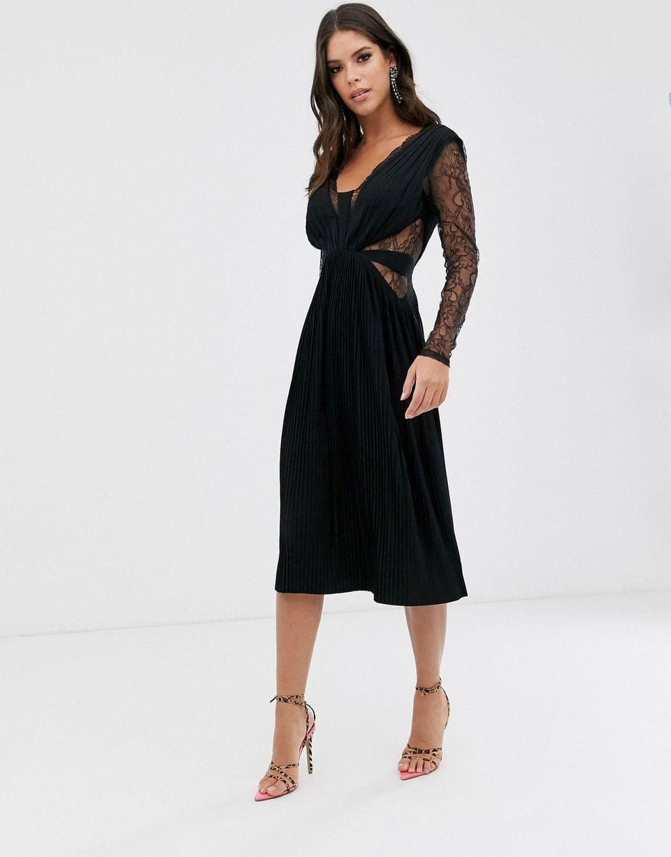 Women's Tall lace and pleat long sleeve midi dress