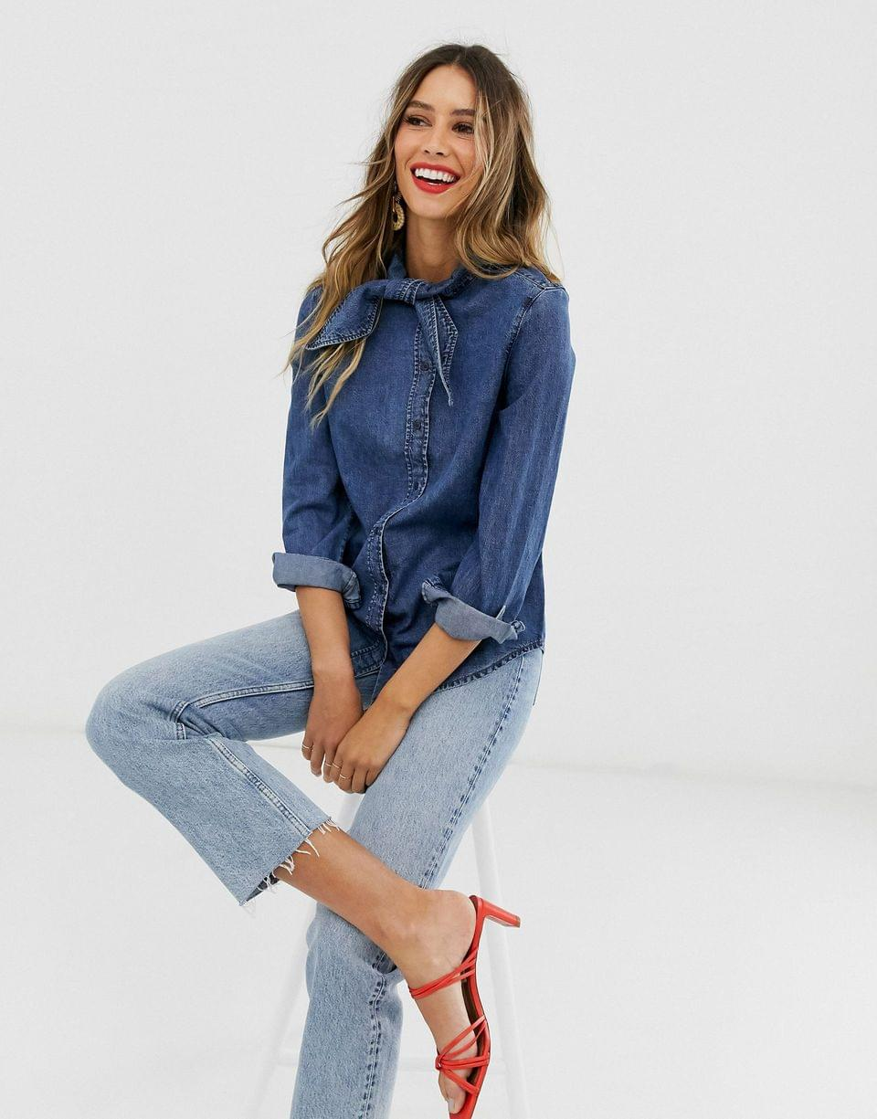 Women's & Other Stories denim shirt with pussy bow in blue