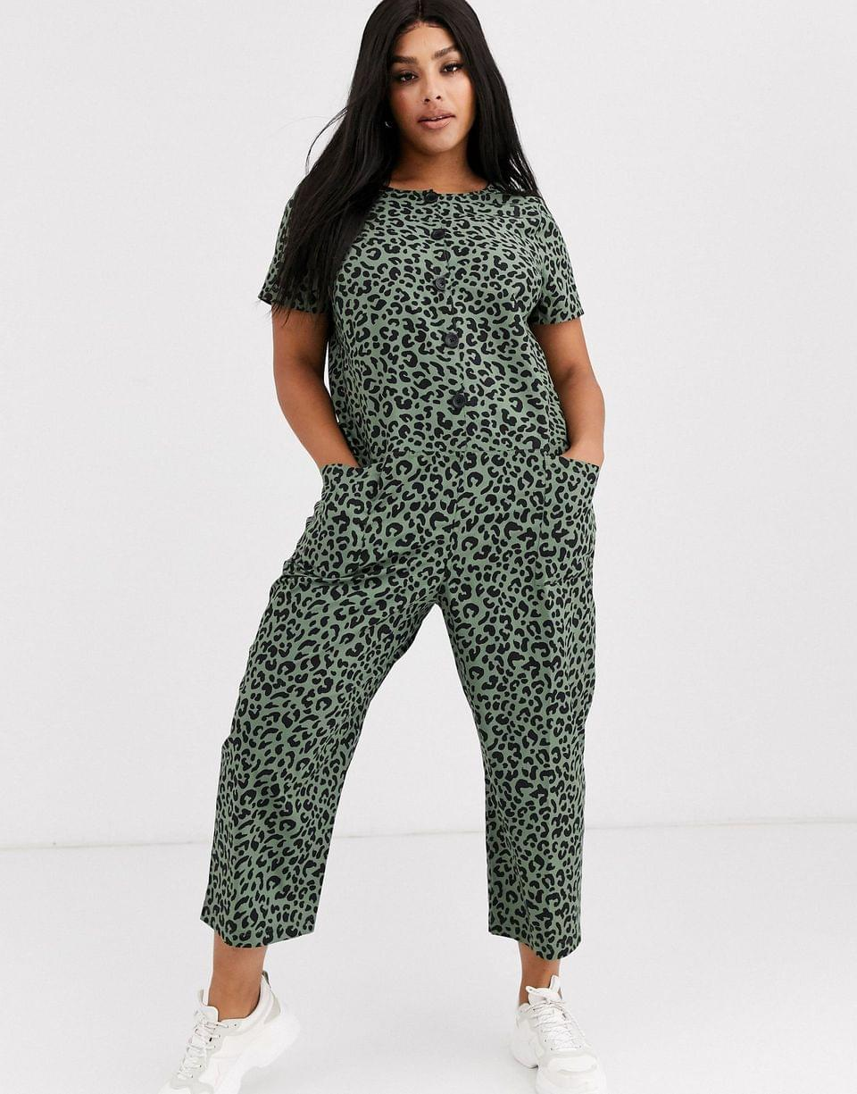 Women's Curve short sleeve button front boilersuit in green animal print