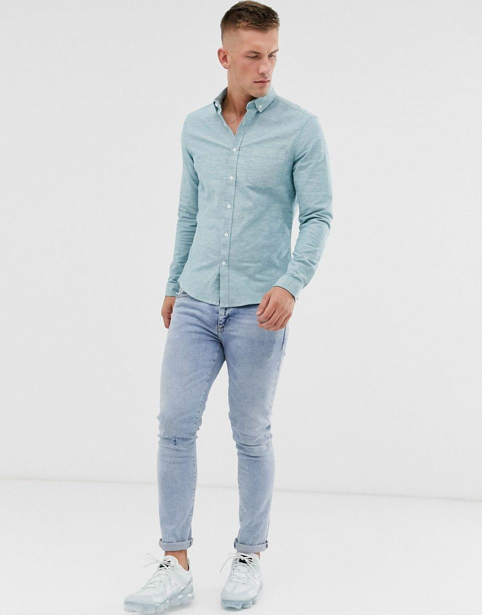 Men's slim fit casual oxford shirt in blue