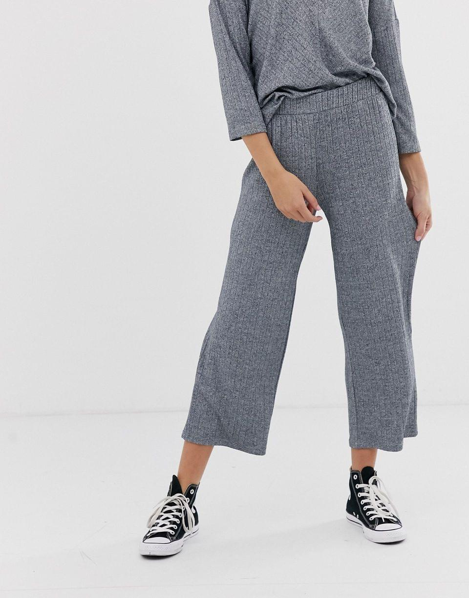 Women's JDY wide leg rib pants in gray