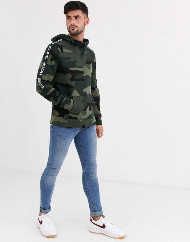 MEN Hollister icon and sleeve tape logo hoodie in olive camo