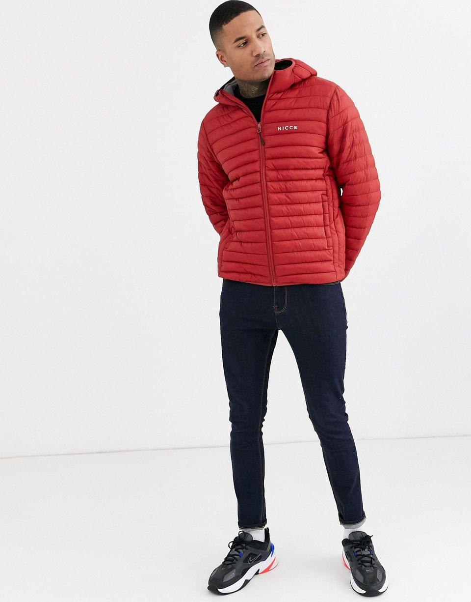 Men's Nicce puffer jacket with hood in burgundy