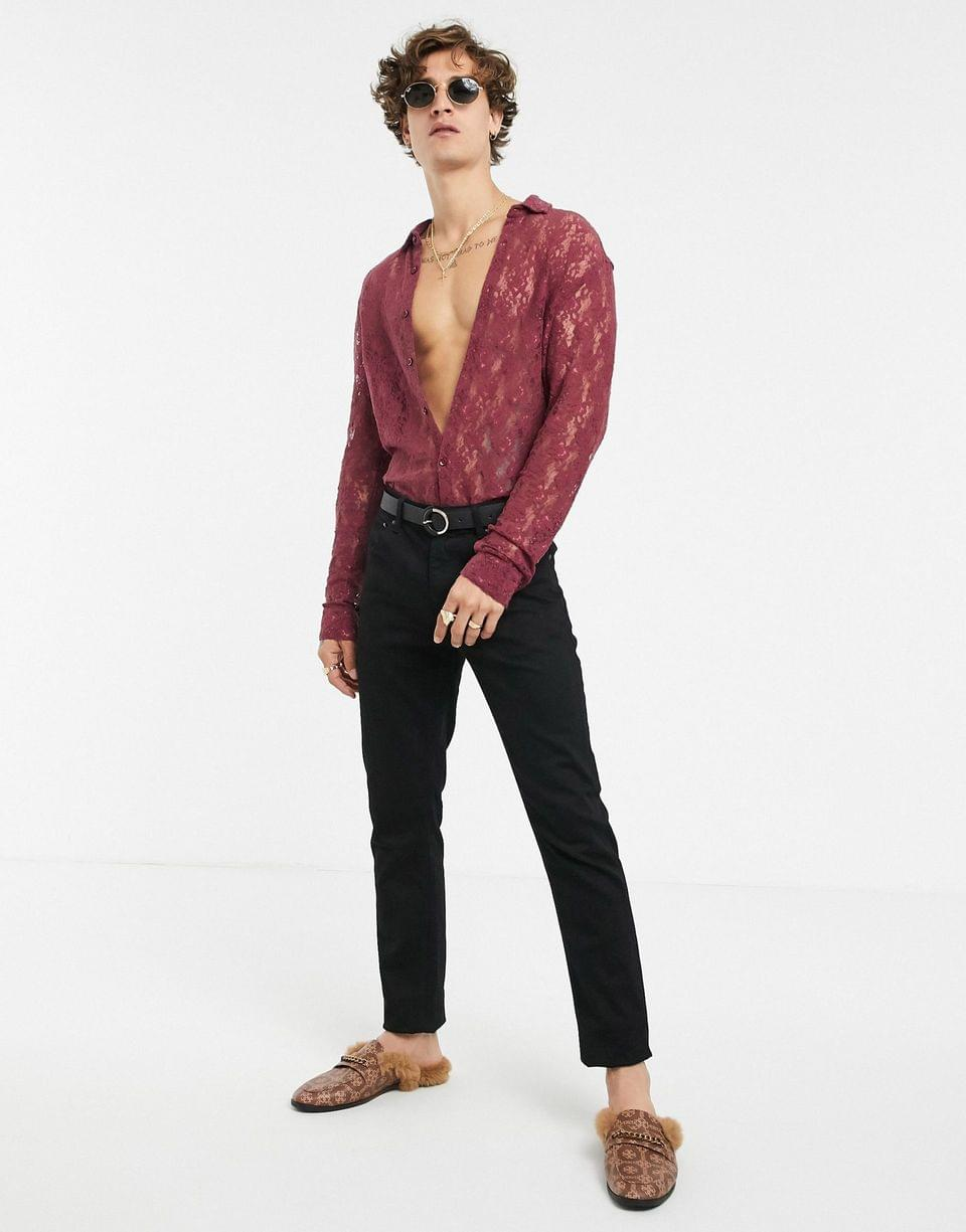 Men's slim fit shirt in burgundy floral lace