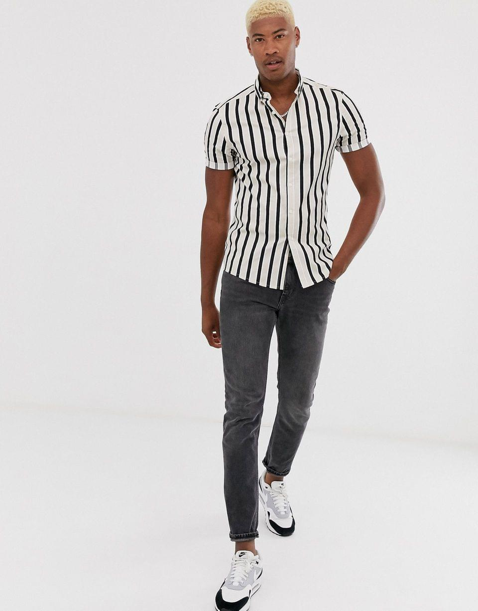 Men's Tall skinny stripe shirt in ecru