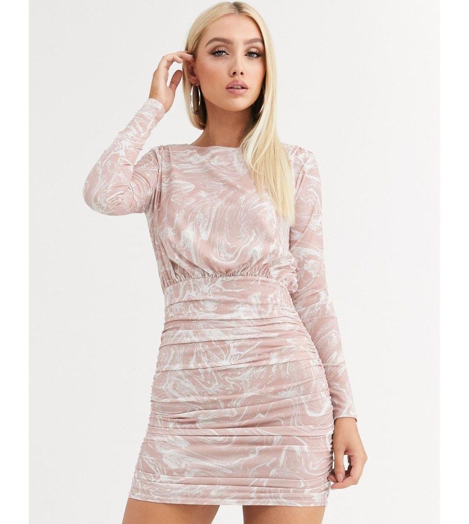 Women's marble print long sleeve slinky ruched mini dress