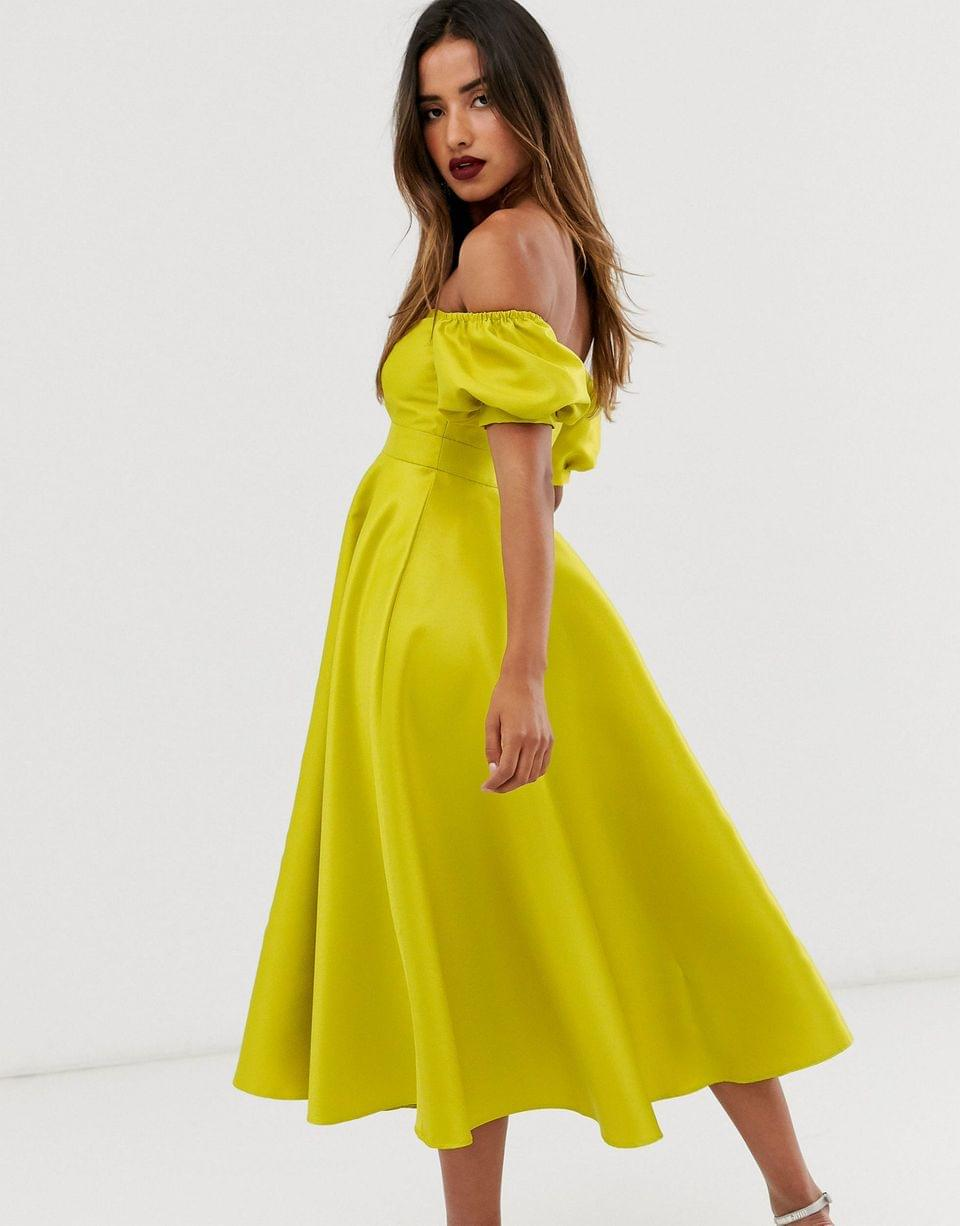 Women's EDITION midi dress with puff sleeve and cut out